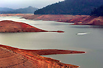 Lake Shasta in California seems to running on empty as drought fears are evident by the low water line.