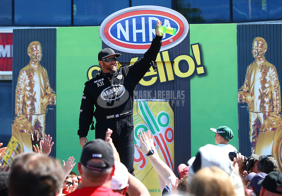 June 1, 2014; Englishtown, NJ, USA; NHRA top fuel driver Shawn Langdon during the Summernationals at Raceway Park. Mandatory Credit: Mark J. Rebilas-