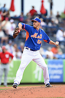 New York Mets pitcher Scott Rice (56) during a spring training game against the Washington Nationals on March 27, 2014 at Tradition Field in St. Lucie, Florida.  Washington defeated New York 4-0.  (Mike Janes/Four Seam Images)