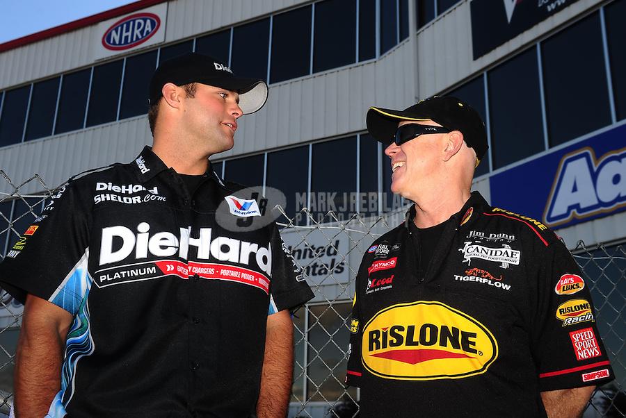 May 15, 2011; Commerce, GA, USA: NHRA funny car driver Paul Lee (right) and Matt Hagan during the Southern Nationals at Atlanta Dragway. Mandatory Credit: Mark J. Rebilas-