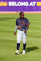 Bowling Green Hot Rods outfielder Tony Pena (20) warms up in the outfield prior to a Midwest League game against the Cedar Rapids Kernels on May 2, 2019 at Perfect Game Field in Cedar Rapids, Iowa. Bowling Green defeated Cedar Rapids 2-0. (Brad Krause/Four Seam Images)