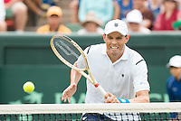 March 5, 2016: Bob Bryan of USA in action against Lleyton Hewitt and John Peers of Australia during the doubles match of the BNP Paribas Davis Cup World Group first round tie between Australia and USA at Kooyong tennis club in Melbourne, Australia. Photo Sydney Low