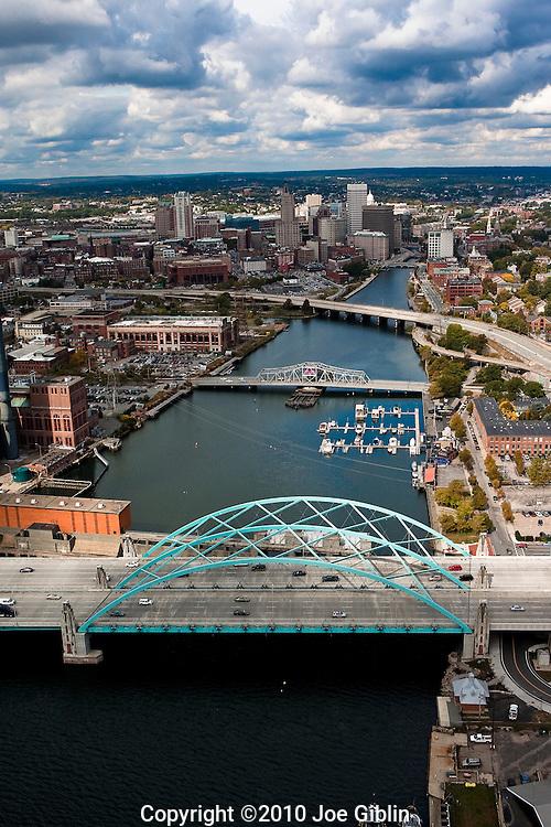 Providence, Rhode Island (RI), skyline in an aerial view.