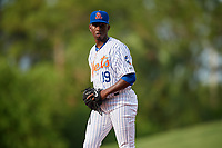 St. Lucie Mets starting pitcher Justin Dunn (19) gets ready to deliver a pitch during the first game of a doubleheader against the Charlotte Stone Crabs on April 24, 2018 at First Data Field in Port St. Lucie, Florida.  St. Lucie defeated Charlotte 5-3.  (Mike Janes/Four Seam Images)