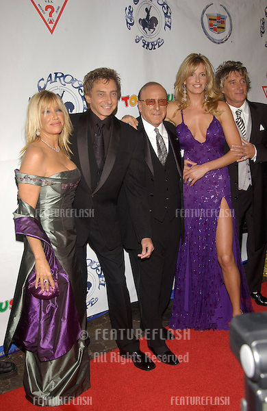 Actress SUZANNE SOMERS (left), singer BARRY MANILOW, JRecords boss CLIVE DAVIS, model PENNY LANCASTER & pop star ROD STEWART at the 15th Carousel of Hope Ball at the Beverly Hilton Hotel, Beverly Hills..15OCT2002.  © Paul Smith / Featureflash
