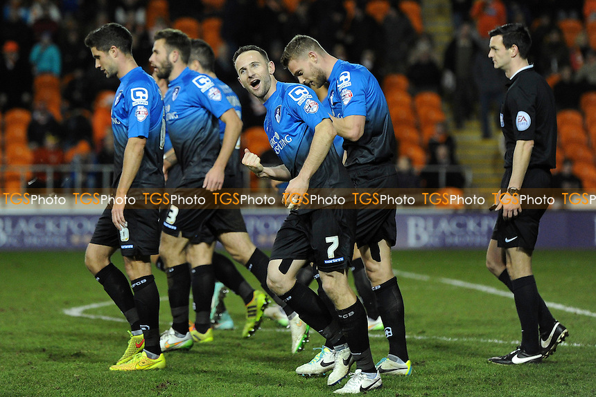 Marc Pugh (facing #7) of Bournemouth celebrates his goal and Bournemouth's fifth - Blackpool vs AFC Bournemouth - Sky Bet Championship Football at Bloomfield Road, Blackpool, Lancashire - 20/12/14 - MANDATORY CREDIT: Greig Bertram/TGSPHOTO - Self billing applies where appropriate - contact@tgsphoto.co.uk - NO UNPAID USE