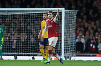 Aaron Ramsey of Arsenal during the UEFA Europa League Semi Final 1st leg match between Arsenal and Atletico Madrid at the Emirates Stadium, London, England on 26 April 2018. Photo by Andy Aleksiejczuk / PRiME Media Images