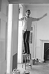 Patrick Procktor artist London 1969. PP decorating his Manchester Street flat, helping him is fellow artist and friend Mo McDermott,who is out of shot. 1968