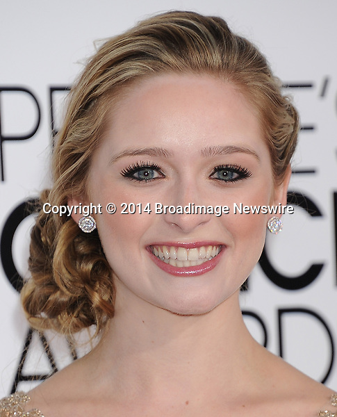 Pictured: Greer Grammer<br /> Mandatory Credit &copy; Gilbert Flores /Broadimage<br /> 2014 People's Choice Awards <br /> <br /> 1/8/14, Los Angeles, California, United States of America<br /> Reference: 010814_GFLA_BDG_267<br /> <br /> Broadimage Newswire<br /> Los Angeles 1+  (310) 301-1027<br /> New York      1+  (646) 827-9134<br /> sales@broadimage.com<br /> http://www.broadimage.com