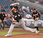 Sacramento River Cats  starting pitcher Brad Peacock throws agianst the Reno Aces during their play off game on Saturday night September 8, 2012 at Aces Ballpark in Reno NV.