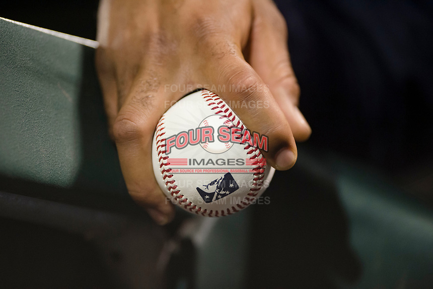 A professional baseball player holds a baseball during an Arizona Fall League game between the Scottsdale Scorpions and the Mesa Solar Sox at Sloan Park on October 10, 2018 in Mesa, Arizona. Scottsdale defeated Mesa 10-3. (Zachary Lucy/Four Seam Images)