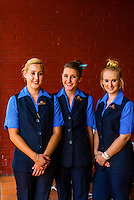 """Train hostesses before the departure of the luxury """"Pride of Africa"""" train crossing South Africa from Pretoria to Cape Town, Rovos Rail Station, Capital Park, Pretoria (Tshwane), South Africa."""