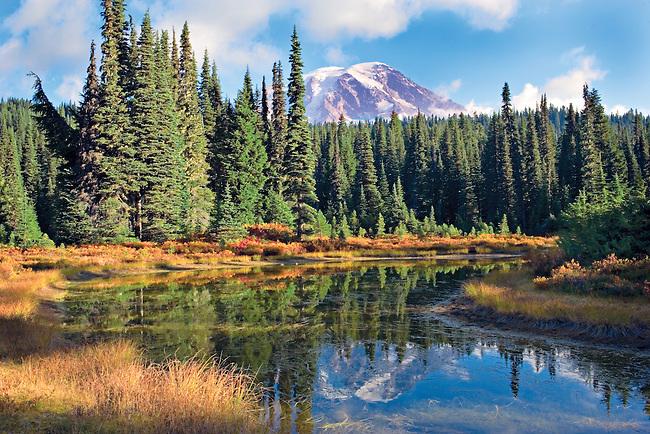 autumn morning with Mt. Rainier reflecting into Reflection Lake, WA.