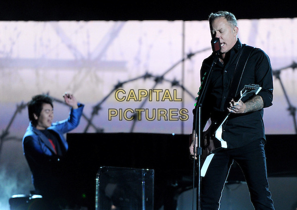 LOS ANGELES, CA - JANUARY 26 : Lang Lang (L), and James Hetfield of Metalica perform onstage at The 56th Annual GRAMMY Awards at Staples Center on January 26, 2014 in Los Angeles, California.<br /> CAP/MPI/PG<br /> &copy;PGFMicelotta/MediaPunch/Capital Pictures