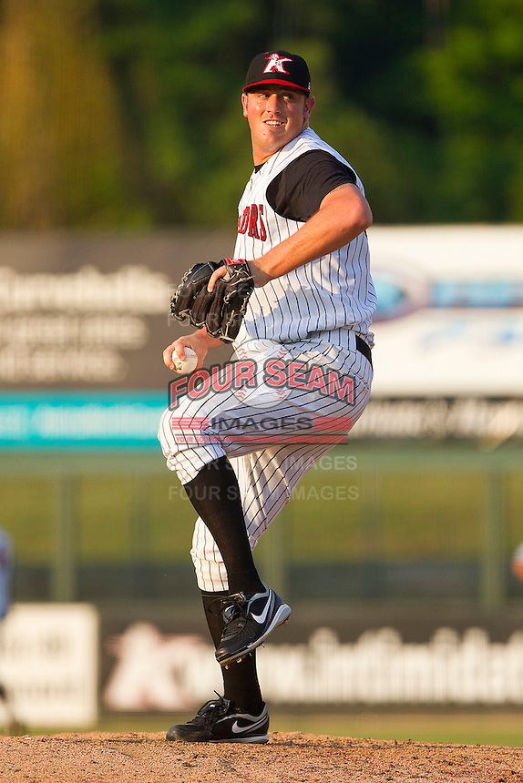 Leroy Hunt #35 of the Kannapolis Intimidators in action against the Delmarva Shorebirds at Fieldcrest Cannon Stadium on May 22, 2011 in Kannapolis, North Carolina.   Photo by Brian Westerholt / Four Seam Images