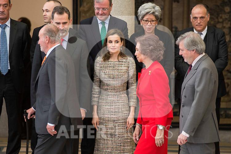 King Juan Carlos, King Felipe VI of Spain, Queen Letizia, Queen Sofia and sports minister Íñigo Méndez de Vigo attends to the National Sports Awards 2015 at El Pardo Palace in Madrid, Spain. January 23, 2017. (ALTERPHOTOS/BorjaB.Hojas)