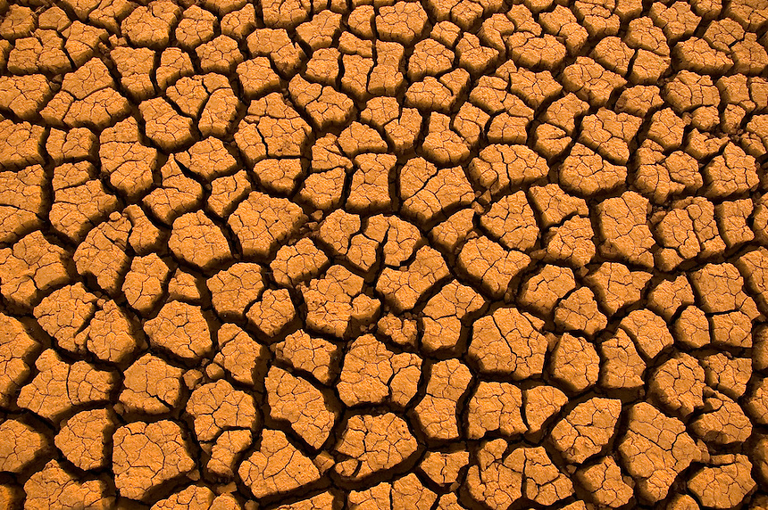 Cracked earth which was once a tranquil cove at Lake Thunderbird in Norman Oklahoma serves as a stark reminder of a severe drought during July of 2006.