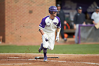 Conner Dunbar (24) of the High Point Panthers starts down the first base line during the game against the Campbell Camels at Williard Stadium on March 16, 2019 in  Winston-Salem, North Carolina. The Camels defeated the Panthers 13-8. (Brian Westerholt/Four Seam Images)