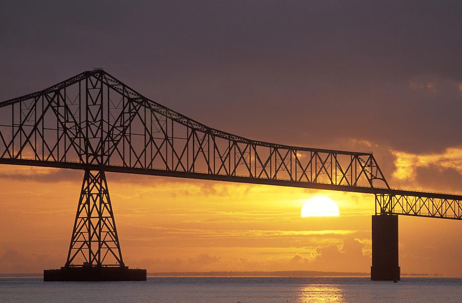 Astoria Bridge silhouetted against sunset, Astoria, Oregon
