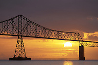 Astoria Bridge silhouetted against sunset, Astoria, Oregon