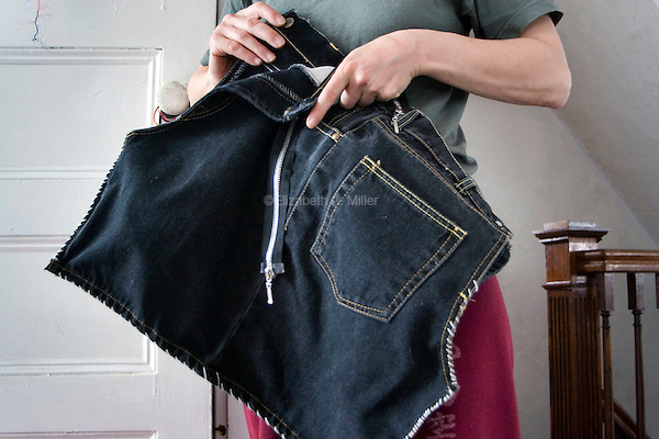 A handbag Janet has sewn together from pieces of sample clothing material found in a dumpster.  She also intends to attach a zipper.