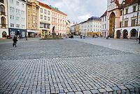 View of empty city square, Olomouc, Czech Republic