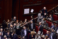 Roma, 31 Gennaio 2015<br /> Vendola e Bersani.<br /> Camera dei Deputati.<br /> Alla quarta votazione viene eletto Sergio Mattarella a Presidente della Repubblica. <br /> Gli scranni del centro sinistra