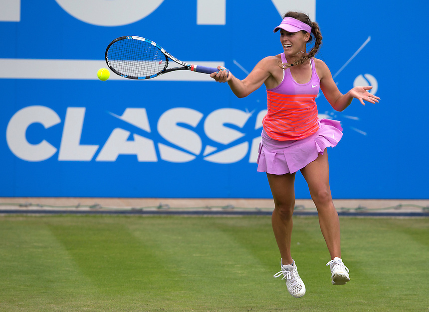 [Q] Michelle Larcher De Brito (POR) in action during her victory over [2] Ana Ivanovic (SRB) in their Women&rsquo;s Singles Second Round match today - Michelle Larcher De Brito (POR) def Ana Ivanovic (SRB) 6-4 3-6 7-6 (6)<br /> <br /> Photographer Stephen White/CameraSport<br /> <br /> Tennis - WTA International - Aegon  Classic - Day 3 - Wednesday 17th June 2015 - Edgbaston Priory Club - Birmingham<br /> <br /> &copy; CameraSport - 43 Linden Ave. Countesthorpe. Leicester. England. LE8 5PG - Tel: +44 (0) 116 277 4147 - admin@camerasport.com - www.camerasport.com
