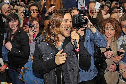 30 Seconds to Mars - vocalist Jared Leto - perform an impromptu concert to 500 fans in Soho Square London UK - 30 May 2013.  Photo credit: Zaine Lewis/IconicPix