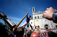 Gubbio 15 MAY 2006..Festival of the CeriThe raising, ?Alzata? of the Ceri  the morning..http://www.ceri.it/ceri_eng/index.htm..