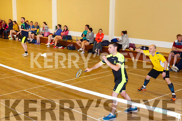 Kyle Reidy and Oliver Carmody in action at the Badminton finals in Ballyheigue on Sunday last,