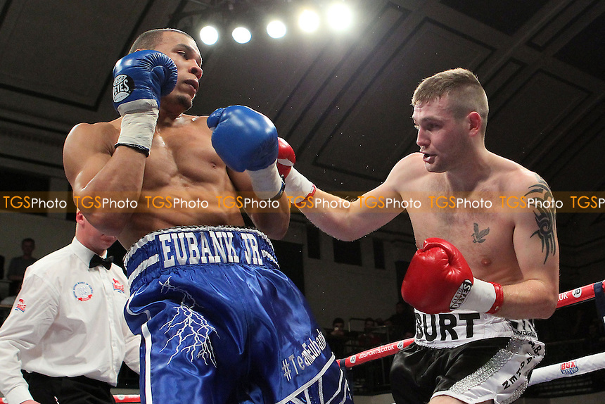 Chris Eubank Jr (blue shorts) defeats Alistair Warren in a Middleweight Boxing Contest at York Hall, Bethnal Green, London, promoted by Frank Warren - 22/02/14 - MANDATORY CREDIT: Gavin Ellis/TGSPHOTO - Self billing applies where appropriate - 0845 094 6026 - contact@tgsphoto.co.uk - NO UNPAID USE