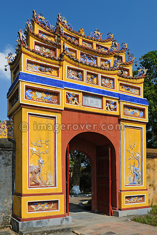 Asia, Vietnam, Hue. Temple Hung Mieu to honouring the grandparents. Designated a UNESCO World Heritage Site in 1993, Hue is honoured for its complex of historic monuments. The seat of the Nguyen emperors was in the Citadel, which occupies a large, walled area on the north side of the Perfume river. Inside the citadel was a forbidden city where only the concubines, emperors, and those close enough to them were granted access, the punishment for trespassing being death.