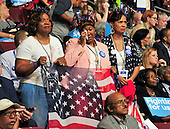 "Delegates get emotional as they listen to the ""Mothers of the Movement"" presentation at the 2016 Democratic National Convention held at the Wells Fargo Center in Philadelphia, Pennsylvania on Tuesday, July 26, 2016.<br /> Credit: Ron Sachs / CNP<br /> (RESTRICTION: NO New York or New Jersey Newspapers or newspapers within a 75 mile radius of New York City)"