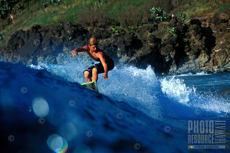 Cheyne Magnusson surfing in Honolua Bay on Maui