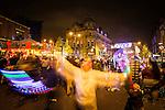 © Joel Goodman - 07973 332324 . 17 November 2013 . Oldham , UK . The lights on Yorkshire Street . The Christmas lights are turned on in Oldham Town Centre . Photo credit : Joel Goodman