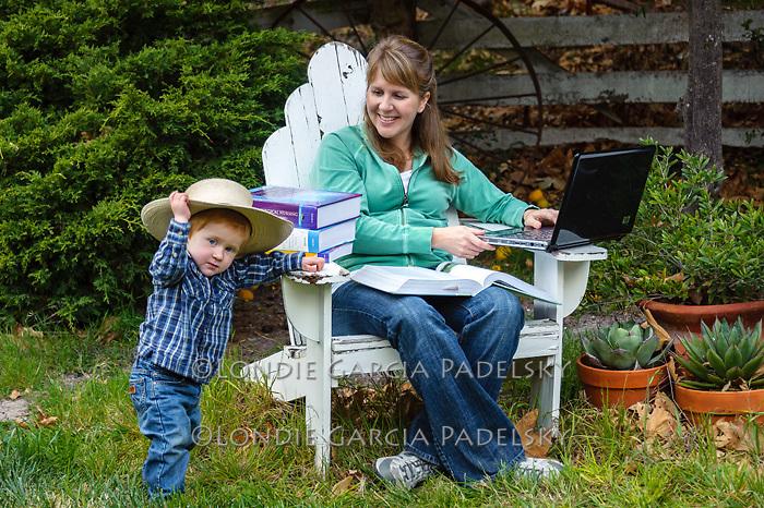 Kristy studying outside and son Caleb, San Luis Obispo, California