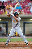 Burlington Bees Douglas Landaeta #27 during a game against the Kane County Cougars at Fifth Third Bank Ballpark on June 28, 2012 in Geneva, Illinois.  Kane County defeated Burlington 6-5.  (Mike Janes/Four Seam Images)