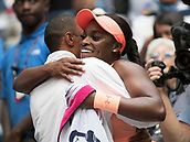 9th September 2017, FLushing Meadows, New York, USA;  Sloan Stephens (USA) embraces her coach Kamau Murray after winning the US Open Women's Singles title  at the USTA Billie Jean King National Tennis Center in Flushing Meadow, NY.