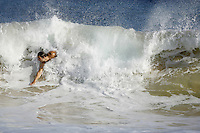 "a man body surfs at ""Sandy Beach Park""  where Senator Barack Obama used to come to body surf often when living in Hawaii. The image was taken in Honolulu, Hawaii, United States on Thursday July  31 2008...Senator Barack Obama, the presumptive 2008 Democratic presidential candidate was born in Hawaii and spending in he State most of his childhood and teen years. He  graduated from Hololulu's Punahou coeducational college preparatory day school in 1979."