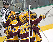 Celebrating Ryan Potulny's first goal - The University of Minnesota Golden Gophers defeated the University of North Dakota Fighting Sioux 4-3 on Saturday, December 10, 2005 completing a weekend sweep of the Fighting Sioux at the Ralph Engelstad Arena in Grand Forks, North Dakota.