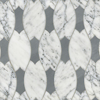 Lana, a stone water jet mosaic, shown in Carrara and Bardiglio, is part of the Ann Sacks Beau Monde collection sold exclusively at www.annsacks.com