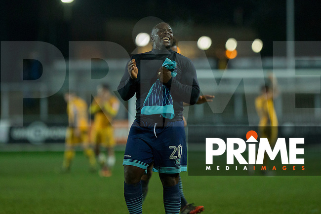 Adebayo Akinfenwa of Wycombe Wanderers celebrates at full time of the Sky Bet League 2 match between Newport County and Wycombe Wanderers at Rodney Parade, Newport, Wales on 22 November 2016. Photo by Mark  Hawkins.