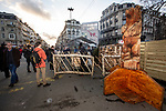 BRUSSELS - BELGIUM - 30 November 2018 -- Christmas market in Brussels features a specialty: the Finnish Village. -- The guardian of the Finnish Village a chainsaw carved wooden bear. -- PHOTO: Juha ROININEN / EUP-IMAGES