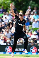 Tim Southee of the Black Caps celebrates the wicket of Hashim Amla of South Africa  during the 2nd ANZ  One Day International Cricket  match, New Zealand V South Africa, Hagley Oval, Christchurch, New Zealand, 22nd Febuary 2017.Copyright photo: John Davidson / www.photosport.nz
