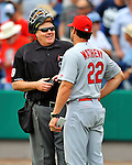 7 March 2012: MLB umpire Gary Cederstrom chats with St. Louis Cardinals Manager Mike Matheny during a game against the Washington Nationals at Space Coast Stadium in Viera, Florida. The teams battled to a 3-3 tie in Grapefruit League Spring Training action. Mandatory Credit: Ed Wolfstein Photo