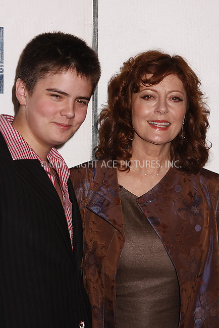 WWW.ACEPIXS.COM . . . . .  ....May 3 2008, New York City....Miles Robbins and actress Susan Sarandon arriving at the 'Speed Racer' premiere  at the 7th Annual Tribeca Film Festival at BMCC/TPAC in downtown Manhattan....Please byline: AJ SOKALNER-ACEPIXS.COM.... *** ***..Ace Pictures, Inc:  ..tel: (646) 769 0430..e-mail: info@acepixs.com..web: http://www.acepixs.com