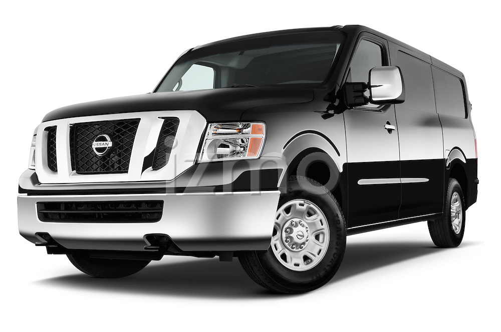 Low aggressive Front Three Quarter view of 2014 Nissan NV 3500 HD cargo van Stock Photo