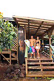 USA, Oahu, Hawaii, portrait of MMA Mixed Martial Arts Ultimate fighter Lowen Tynanes and Logan Garcia at the house of pro surfer Sunny Garcia on the North Shore of Oahu