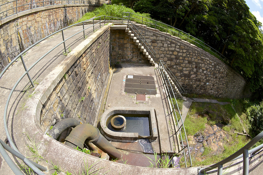 Lower Dam Wall Of The Tai Tam Upper Reservoir (1883-88), Tai Tam Group Of Reservoirs. Twenty-One Structures (Together With The Bowen Road Aqueduct) Make Up The 88th Declared Monument.
